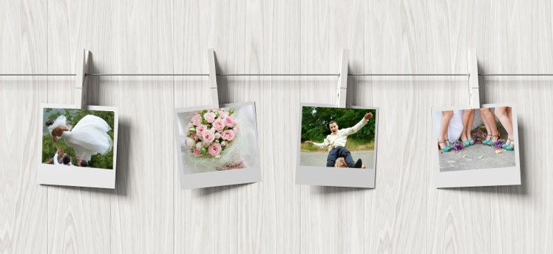 Fotoaufgaben an Wäscheleine aufhängen