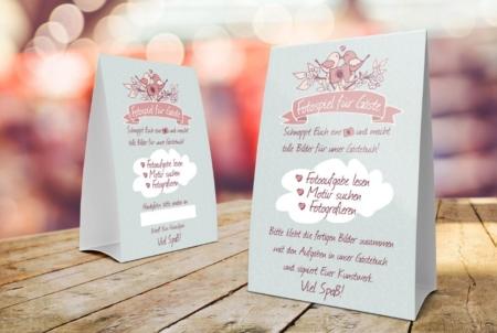 Tischaufsteller mit Fotospiel Anleitung für Hochzeitsfeiern