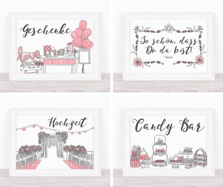 Handgemalte Hochzeits-Schilder