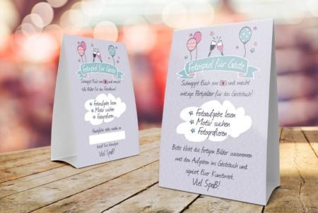 Tischaufsteller mit Fotospiel Anleitung für Partys